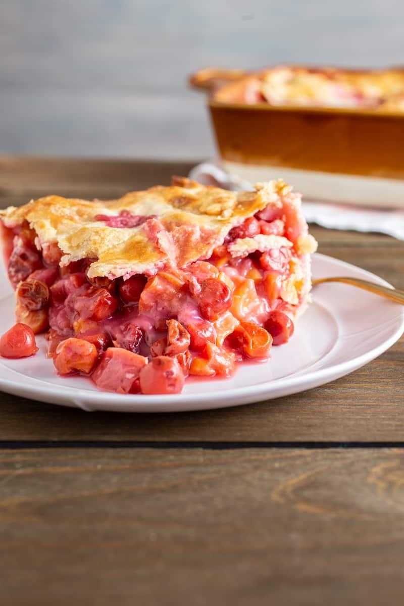 deep dish sour cherry peach pie