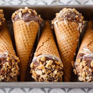 homemade peanut butter caramel drumstick cones, via www.www.goodfoodstories.com