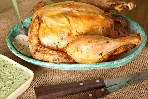 Peruvian roast chicken and green sauce recipe from Queens: A Culinary Passport - via www.www.goodfoodstories.com