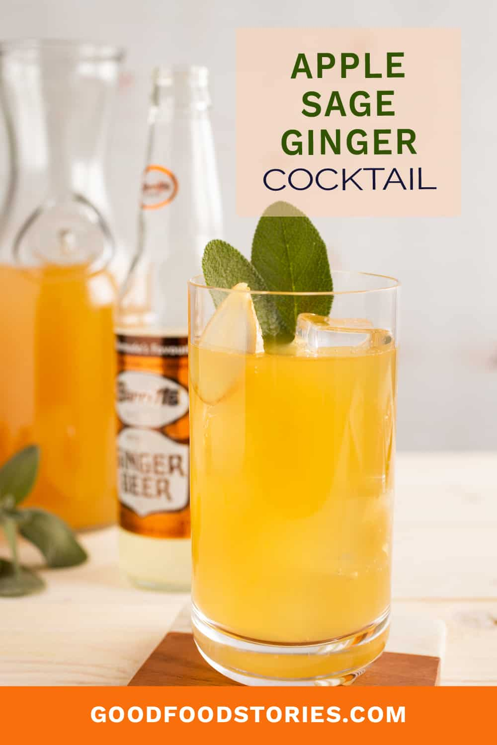cocktail with apple cider, sage and ginger