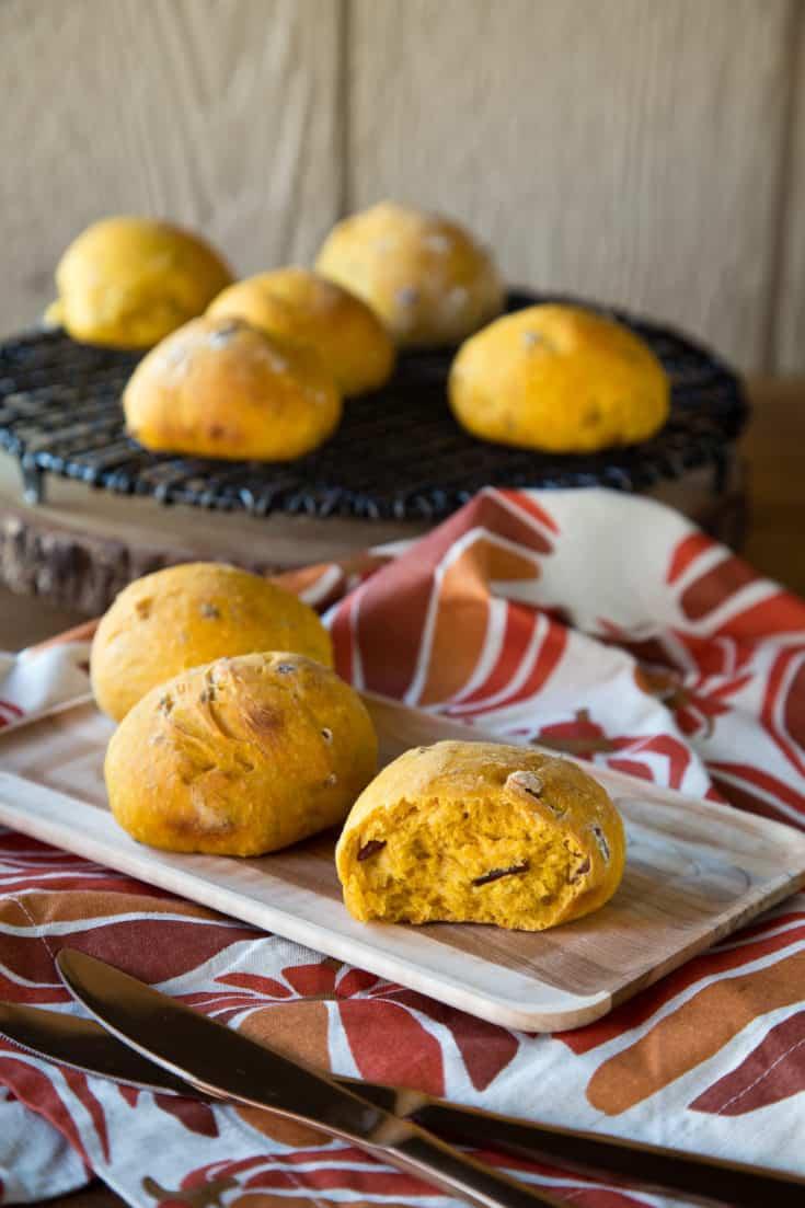 Make-Ahead Pumpkin Nut Dinner Rolls