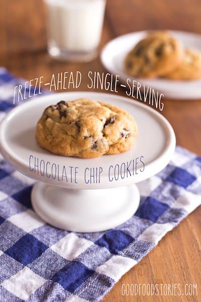 freeze-ahead, single-serving chocolate chip cookies - via www.www.goodfoodstories.com