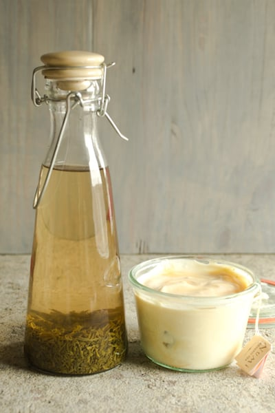 green tea vinegar and tea-infused yogurt, from the book Steeped: Recipes Infused with Tea - via www.www.goodfoodstories.com