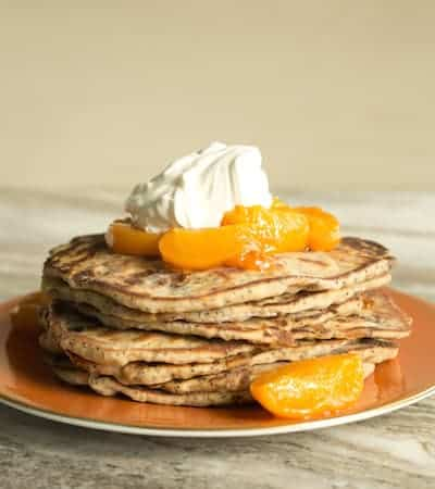 apricot poppy seed yogurt flatbreads topped with roasted apricots and yogurt whipped cream, via goodfoodstories.com