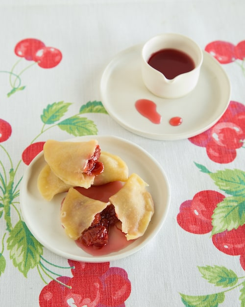 sour cherry pierogies from Pierogi Love: New Takes on an Old-World Comfort Food by Casey Barber - via www.www.goodfoodstories.com