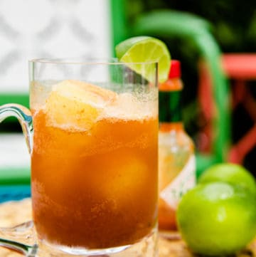 smoky michelada made with beer ice cubes