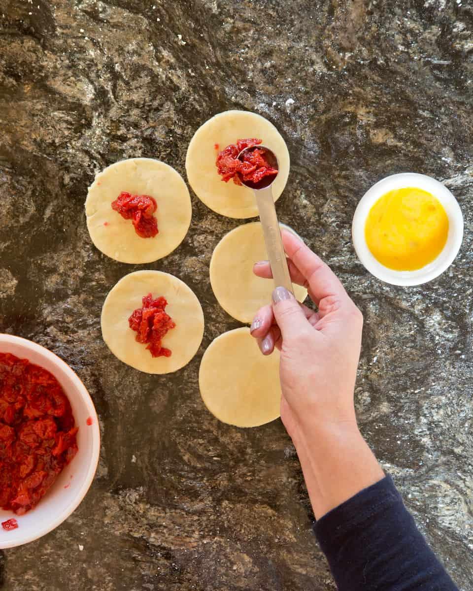 filling sour cherry pierogies