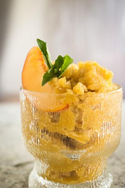 peach, basil, and mint granita, via www.www.goodfoodstories.com