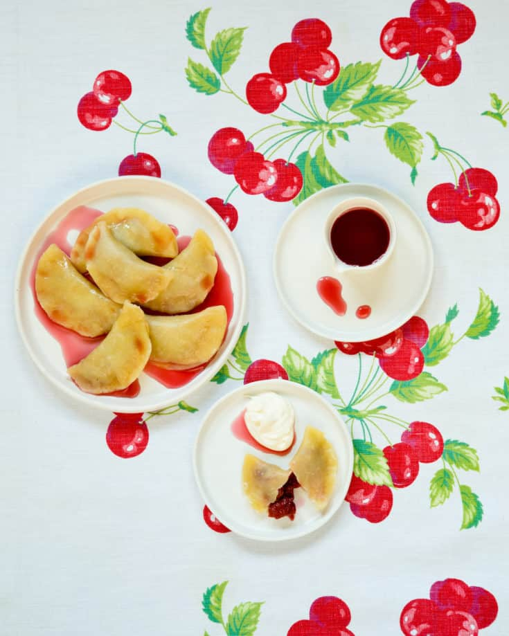 Sour cherry pierogies from the cookbook Pierogi Love: New Takes on an Old-World Comfort Food are a tasty twist on the traditional recipe. #pierogies #pierogi #sourcherry #dumplings