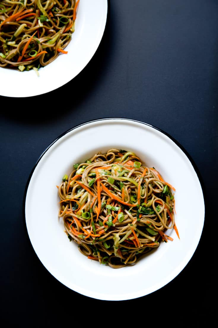 A soba noodle bowl is the ultimate solution for summer cooking—packed with crisp raw veggies, fresh herbs, and lots of flavor. #coldnoodles #sobanoodles #noodlebowl #nocook