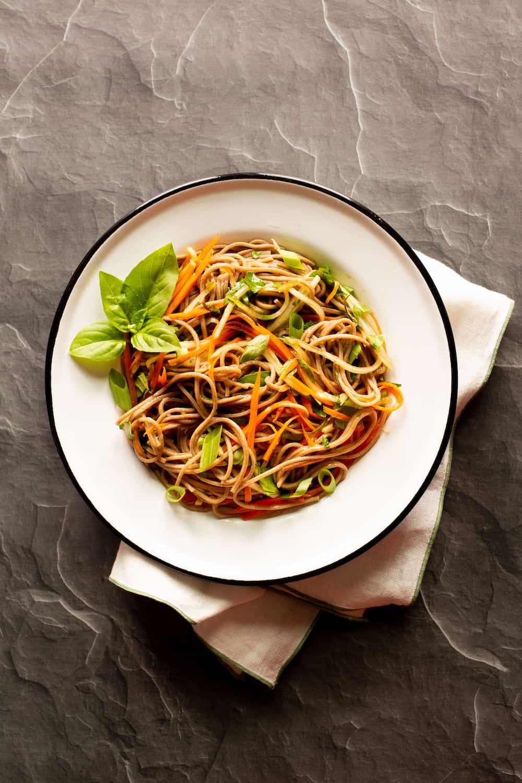 soba noodle bowl with vegetables