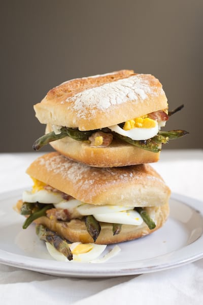 green bean sandwich with bacon, egg, and Parmesan, - via www.www.goodfoodstories.com