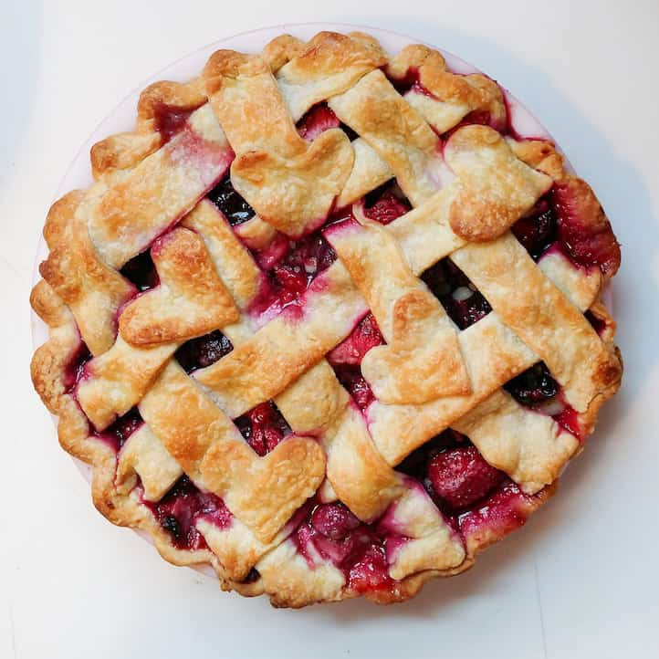 cherry strawberry pie with lattice crust