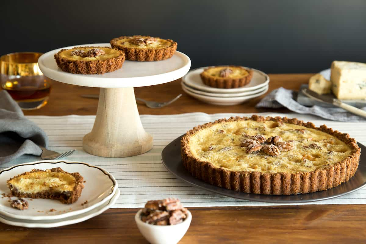 pecan maple blue cheese bourbon tart