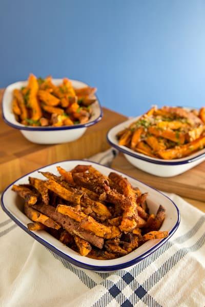 baked sweet potato fries three ways! - via www.www.goodfoodstories.com
