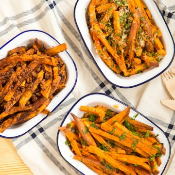 baked sweet potato fries three ways! - via www.www.goodfoodstories.com