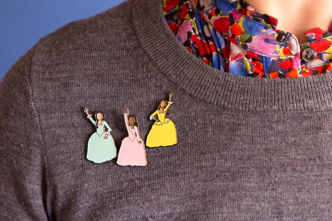 Hamilton Schuyler Sisters Enamel Pins available at shop.caseybarber.com