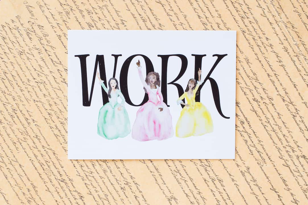 Hamilton Schuyler Sisters Greeting Card available at shop.caseybarber.com