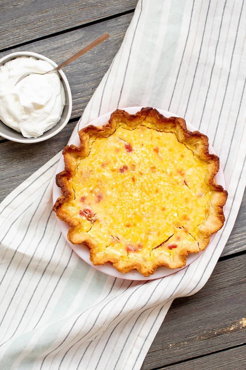 rhubarb lemon pie with no-roll crust