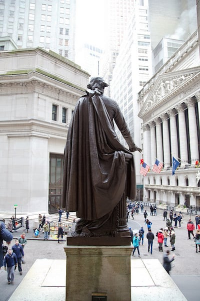 George Washington statue in front of Federal Hall in Manhattan