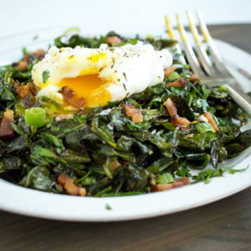 Collard greens are a mainstay of Southern soul food. This modern preparation of spiced collard greens pairs the sturdy vegetable with bacon and eggs.