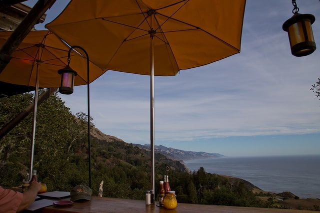 sunset at Nepenthe restaurant in Big Sur, via goodfoodstories.com