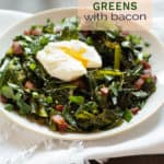 spiced collard greens with bacon and poached egg