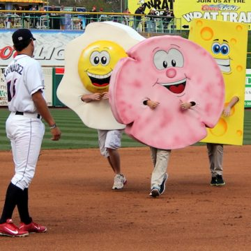 The Lakewood BlueClaws' pork roll, egg, and cheese race - via goodfoodstories.com