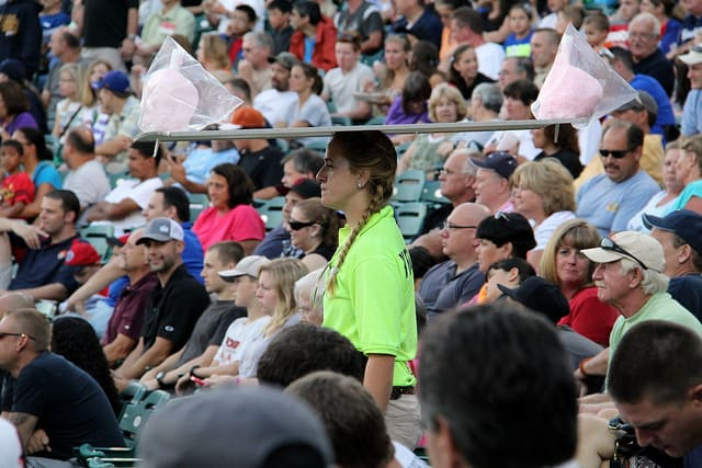 cotton candy vendor at the Lakewood BlueClaws game, via www.www.goodfoodstories.com