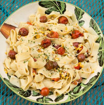 summer charred corn and tomato pasta, via goodfoodstories.com