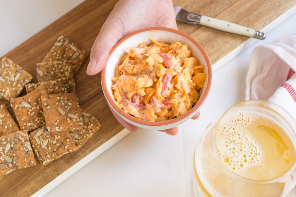 We'd all be happy to eat the entire party-sized bowl of pimiento cheese, but that's not a great idea. Make this single-serving recipe instead!