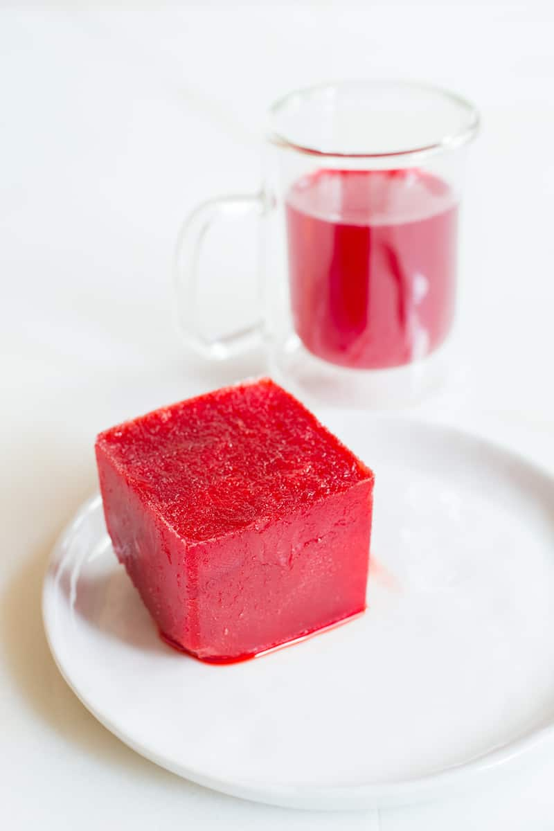 prickly pear syrup frozen in ice cubes