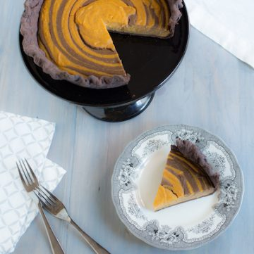 butterscotch-pumpkin zebra pie with chocolate crust from Marbled, Swirled, and Layered by Irvin Lin - via goodfoodstories.com