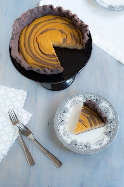 butterscotch-pumpkin zebra pie with chocolate crust from Marbled, Swirled, and Layered by Irvin Lin - via www.www.goodfoodstories.com