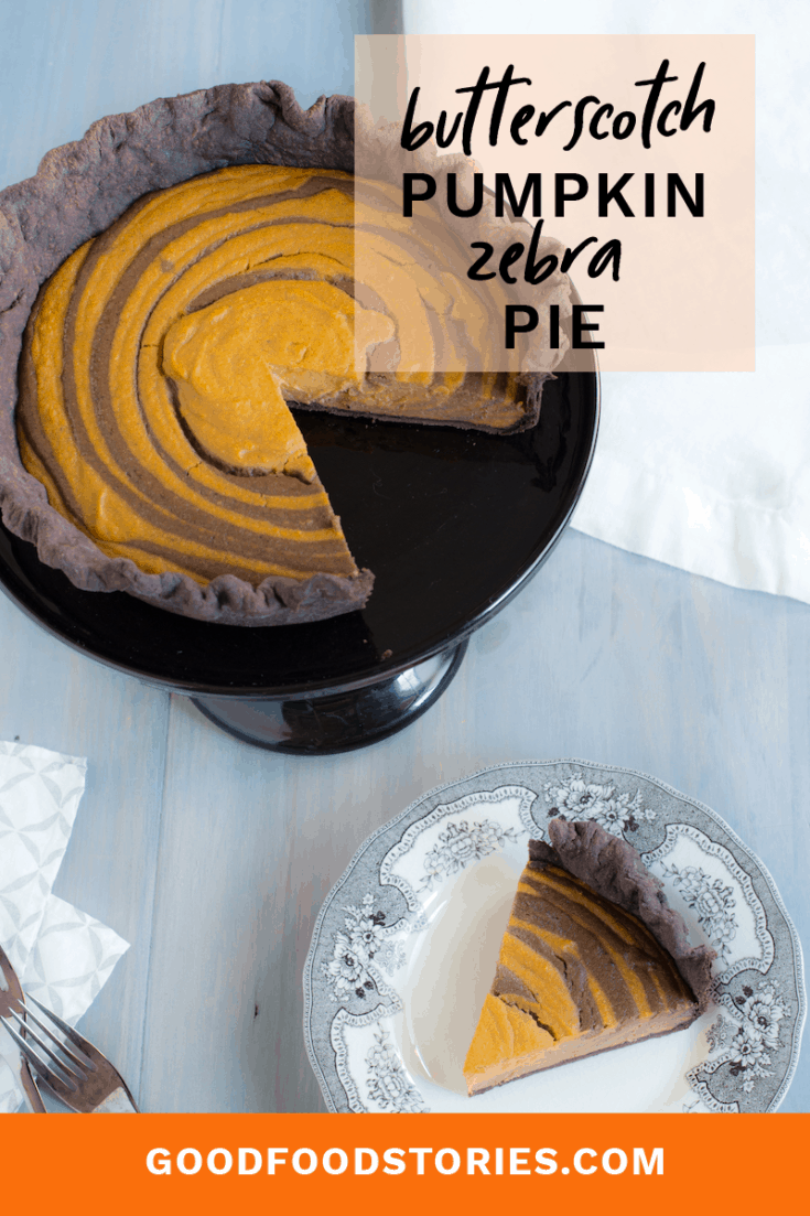 Sick of making the same old pumpkin pie for the holidays? This Butterscotch-Pumpkin Zebra Pie from the book Marbled, Swirled, and Layered is a new twist. #pumpkinpie #thanksgiving #holidaydesserts #butterscotch