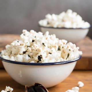 black garlic-sesame popcorn, via www.www.goodfoodstories.com