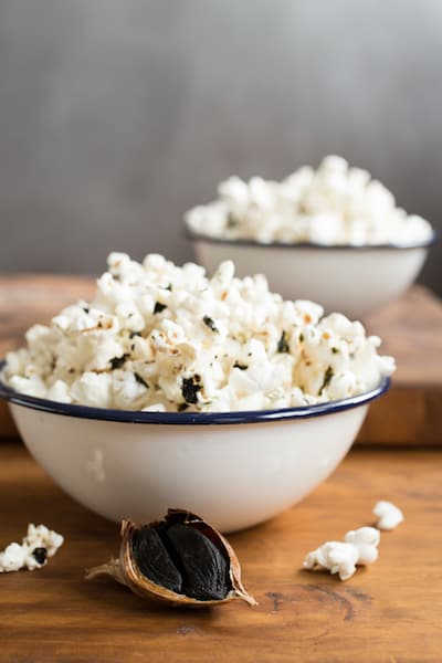 black garlic-sesame popcorn, via goodfoodstories.com