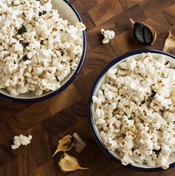 black garlic-sesame popcorn, via www.www.goodfoodstories.com