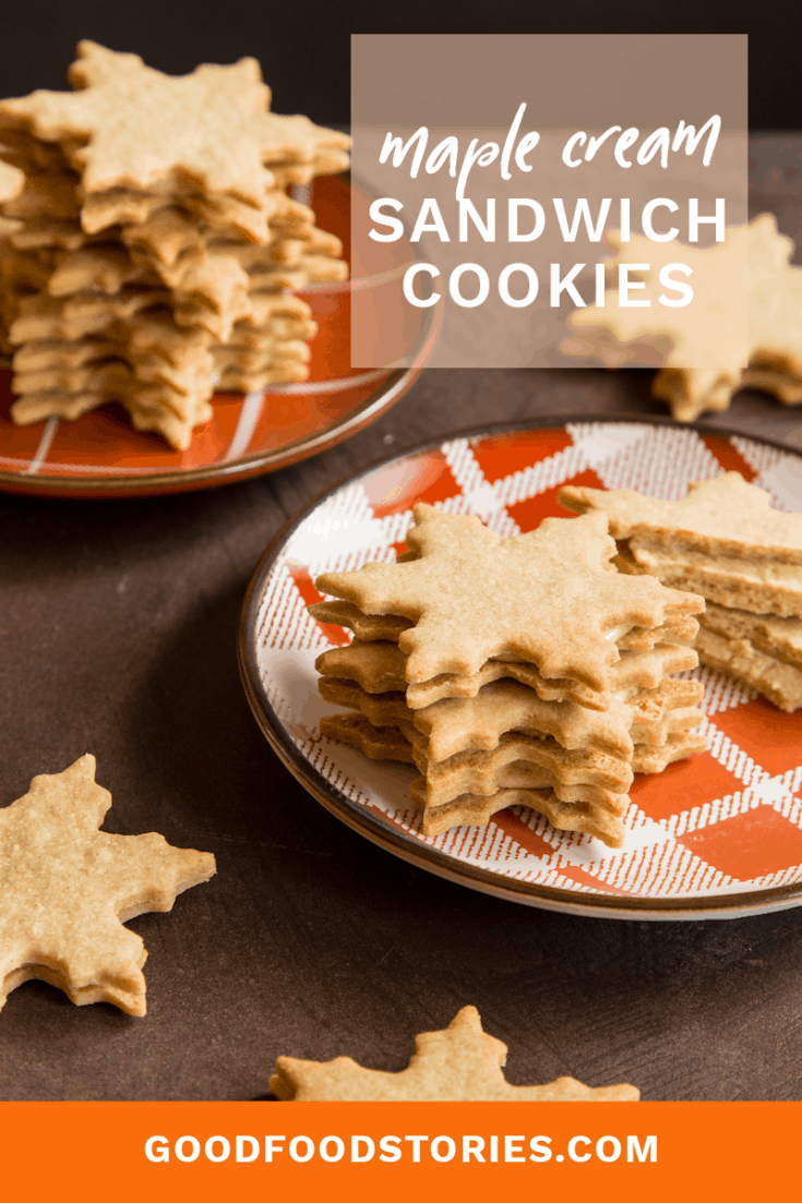 Maple cream sandwich cookies are festive for the holiday season and make a wonderful flavor alternative to traditional chocolate and peppermint treats. #holiday #cookies #baking #maple #desserts