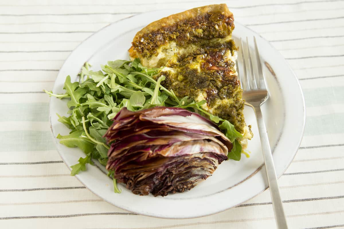 Pesto quiche of the Eighties, in honor of Carrie Fisher and Bruno Kirby in When Harry Met Sally.