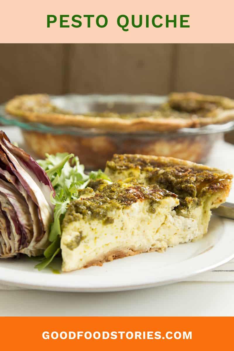 pesto quiche with grilled radicchio