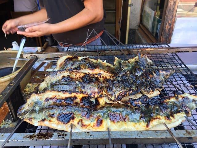 grilled eel in Japan, via goodfoodstories.com