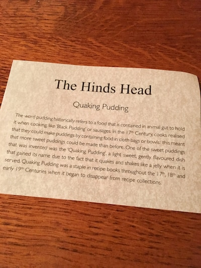 quaking pudding description at The Hinds Head, via goodfoodstories.com