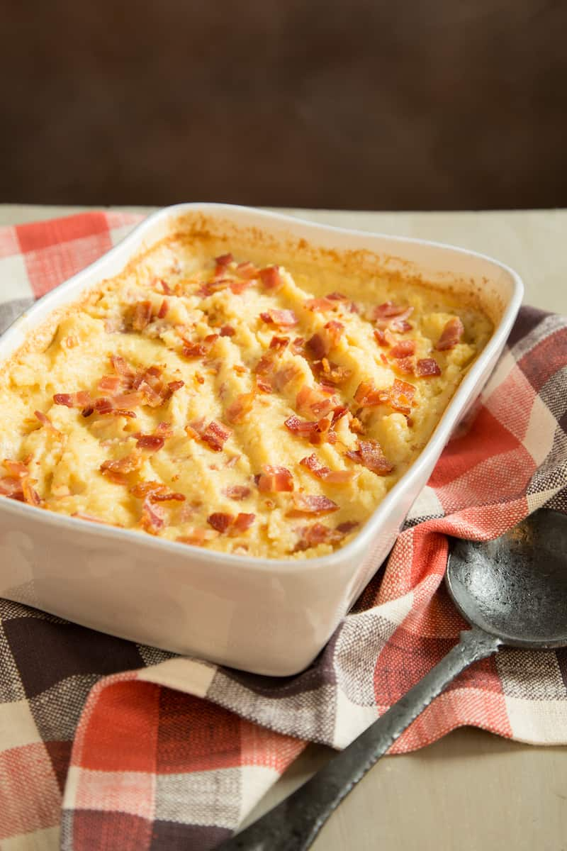 This creamy maple bacon polenta casserole makes an ideal brunch dish—oven-baked and ready to serve a crowd.