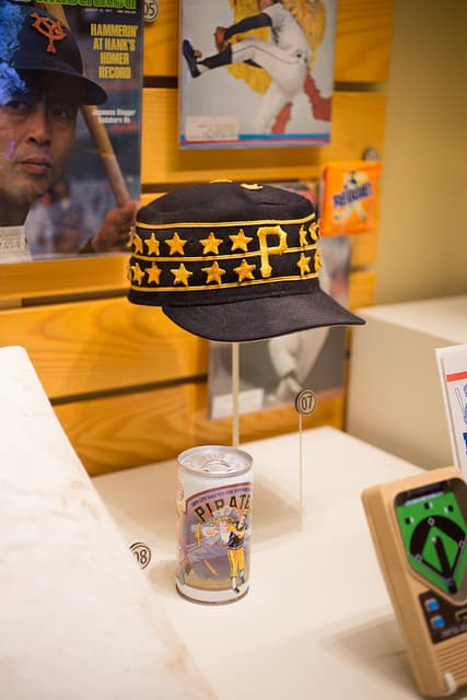 Willie Stargell's pillbox cap in the Baseball Hall of Fame, via www.www.goodfoodstories.com