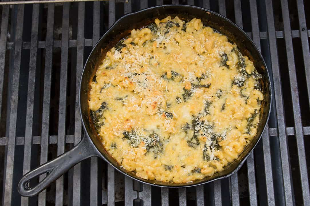 grilled cast iron skillet mac and cheese with kale