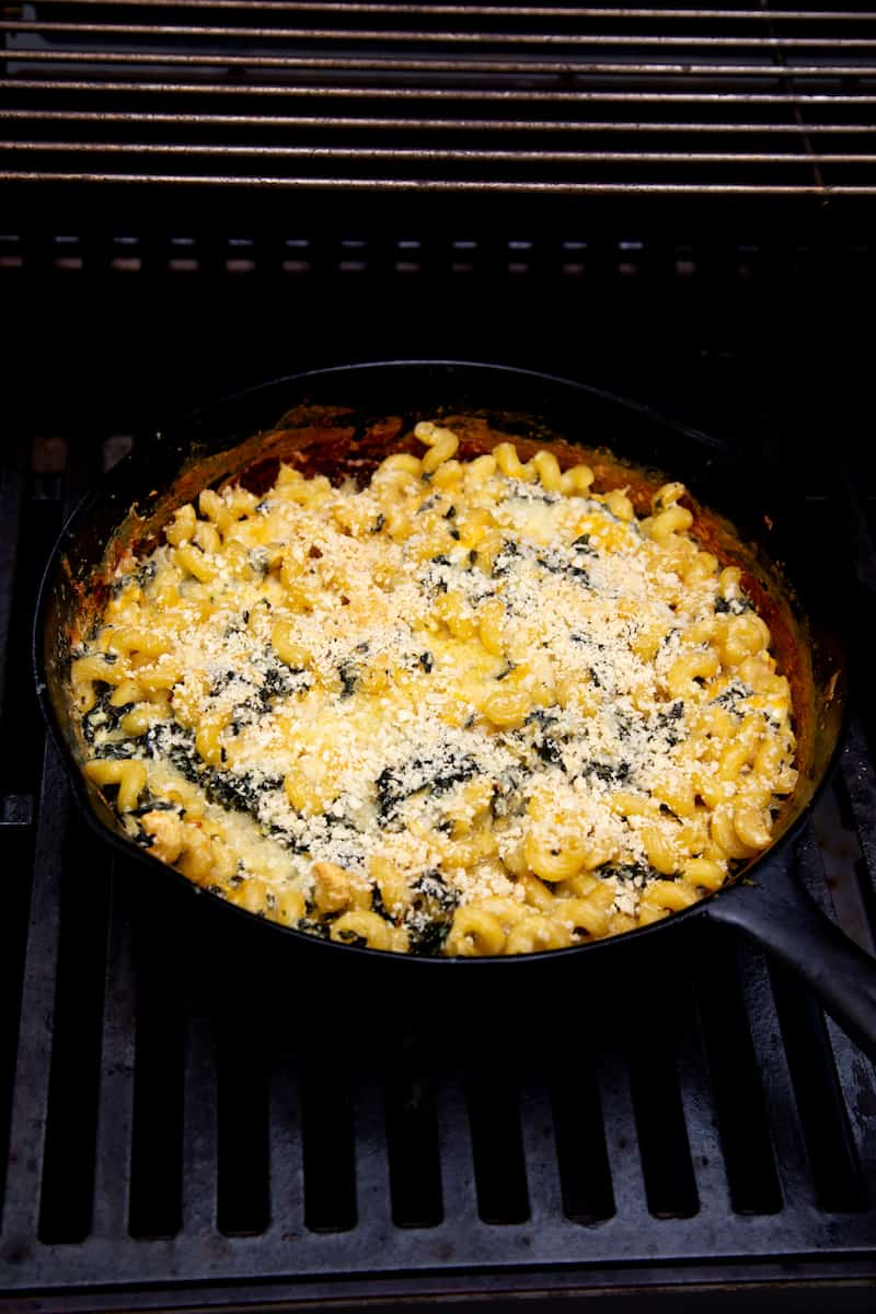 Grilled Cast Iron Skillet Mac and Cheese (with Kale)