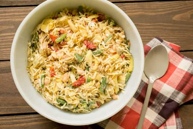 Mediterranean Orzo Salad for Cookouts and Potlucks