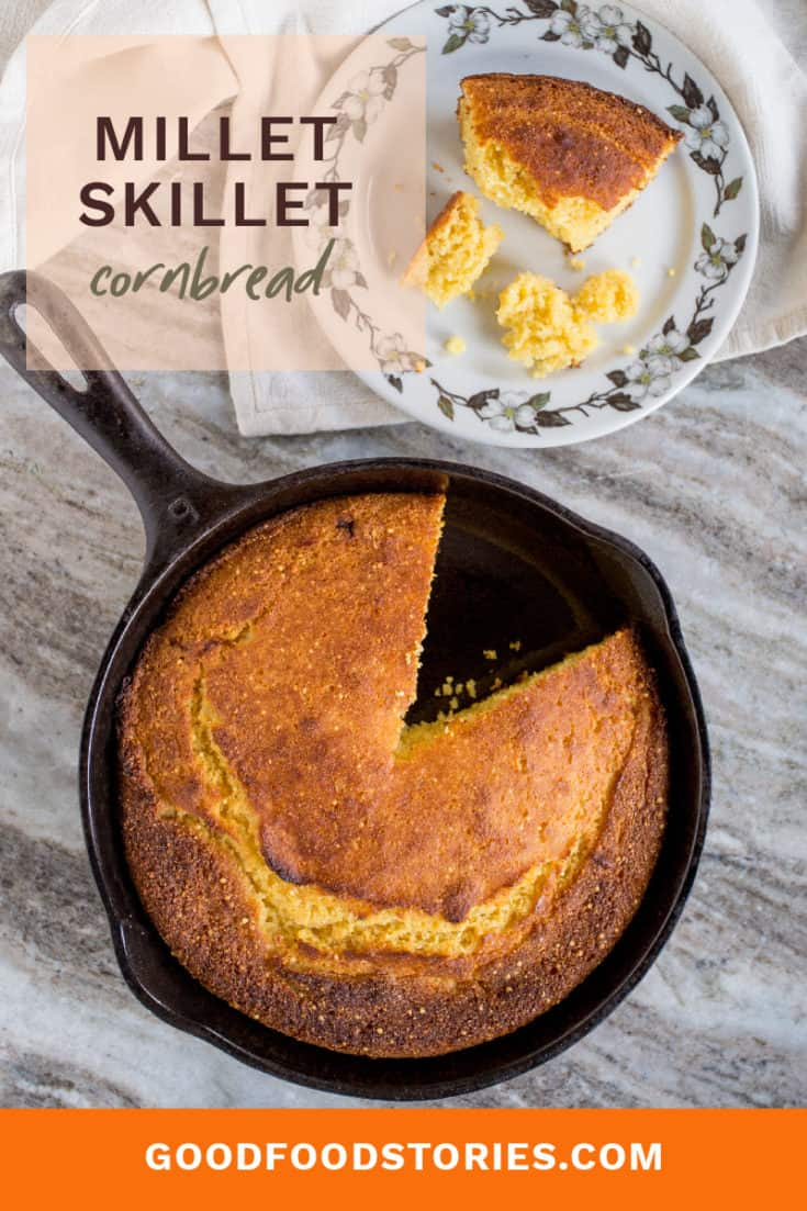 Millet skillet cornbread isn't just fun to say: it's a twist on classic cast iron skillet cornbread that brings an irresistible crunch to every bite. #cornbread #skilletcornbread #castironcooking #wholegrain