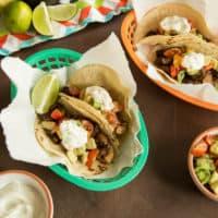 Mushroom Tacos with Tomato-Avocado Salsa and Yogurt Crema